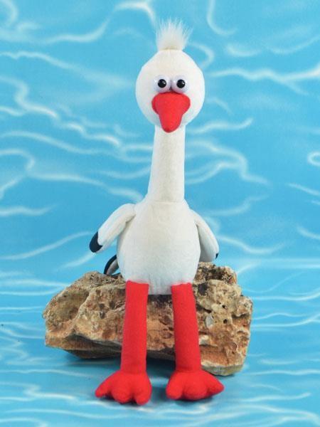"""Laber-Storch """"Harry"""" mit beweglichem langem Hals, Batterien inkl., 24x23x12cm"""